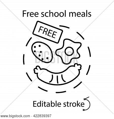 School Meal Concept Outline Concept Icon. Free And Economical Meals. Kids Menu. Customizable Linear