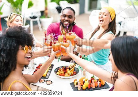 Multiracial Friends Toasting