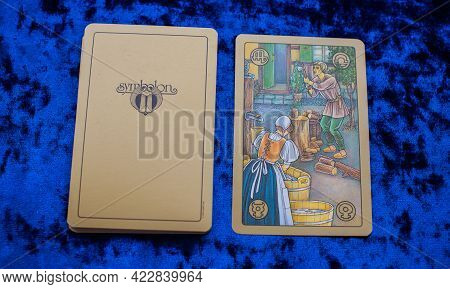 Astrologic Symbolon Cards On The Table, Esoteric Concept, Fortune Telling And Predictions. Europe, R