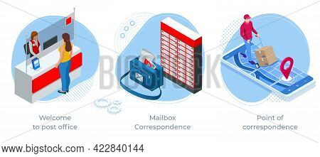Isometric Concept Of Welcome To Post Office , Mailbox Correspondence And Point Of Correspondence. Po