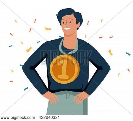 Happy Man Holding Golden Medal And Celebrating Victory. Concept Of Business Success, Competition Win