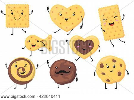 Cute Biscuit Characters Vector Illustrations Set. Funny Smiling Cookies And Crackers Of Different Sh