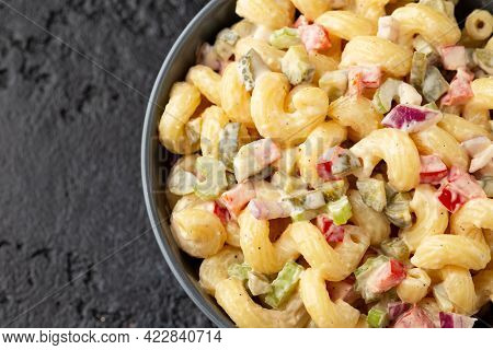 Macaroni Salad With Red Bell Pepper, Onion, Celery, Gherkins And Mayonnaise Dressing