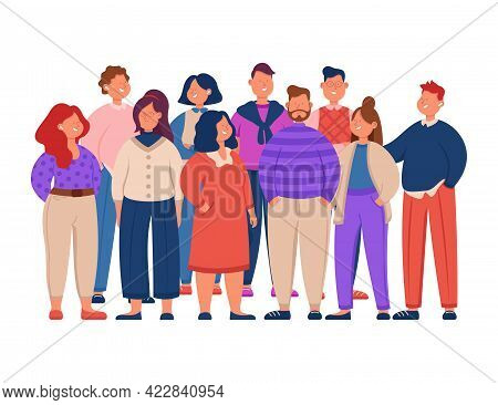 Group Of Cute Cartoon Office Workers Flat Vector Illustration. Young, Funny Colleagues In Casual Clo