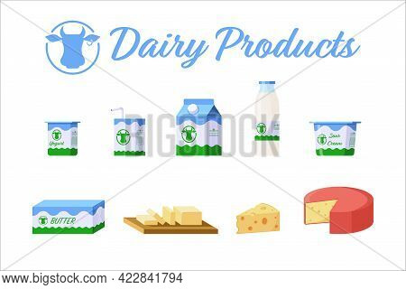 Flat Style Dairy Products Isolated Icons Collection. Colorful Milk Products Set. Yogurt, Cheese, But
