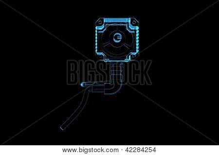 Electric motor (3D xray blue transparent)