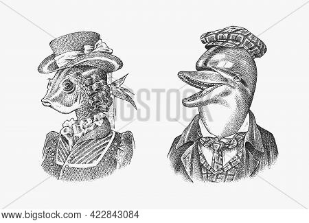 Fish Woman And Dolphin Man In Hat And Suit. Victorian Lady. Marine Mammal. Victorian Gentleman. Fash