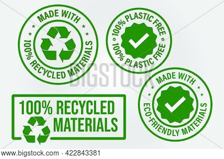 100% Recycled Vector Icon Set Such  As 'made With Eco Friendly Materials, Made With Recycled Materia