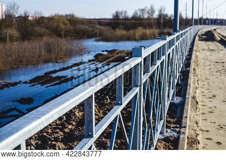 Galvanized Metal Road Fences For Pedestrians, Close-up. Road Safety