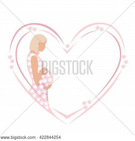 Beautiful Pregnant Woman In A Pink Dress With A Train Of White Flowers. The Happiness Of Motherhood,