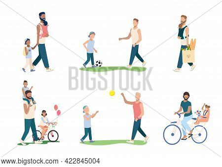 Set Of Happy Young Dad With Children. Happiness Of Fatherhood, Father's Day, Happy Childhood. Dad An