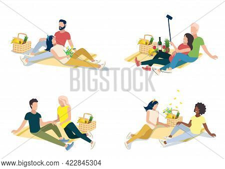Set Of Vector Illustration Of A Happy Couple On A Picnic Lying On A Blanket Next To A Basket With Gr