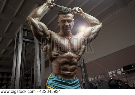 Old Fashion Bodybuilder Doing Arm Exercises In Gym. Handsome Caucasian Sports Man Style Of The 80s.