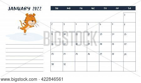Horizontal Desktop Calendar Page Template For January 2022 With The Chinese Year Symbol Cartoon Tige