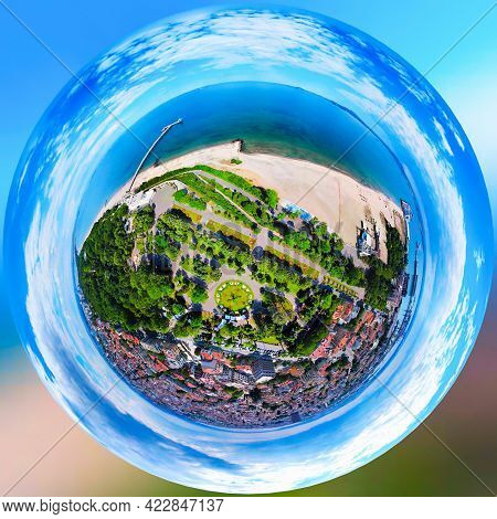 Beautiful 360 Degree Panoramic View Of The Burgas Bay And The Burgas Sea Garden, Bulgaria In Shape O