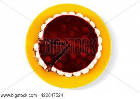 Cherry Cake With White Cream On Yellow Plate With One Piece Cut Out. Isolated.