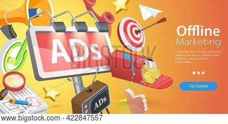 3d Isometric Flat Vector Conceptual Illustration Of Offline Marketing Strategy, Tv, Newspaper, Phone