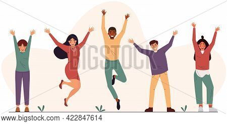 Group Of Young Happy People With Their Hands Up. Color Flat Vector Illustration On Abstract Backgrou
