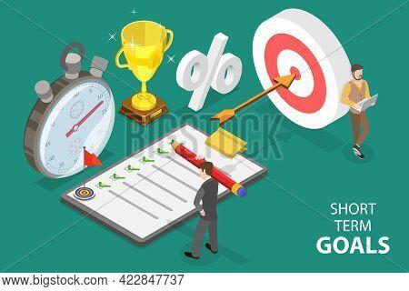 3d Isometric Flat Vector Conceptual Illustration Of Business Short-term Goals , Strategic Plan For B