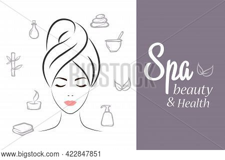 Spa Elements And Symbols . Outlined Silhouette Of A Girl With A Towel On Her Head. Vintage Models Wi
