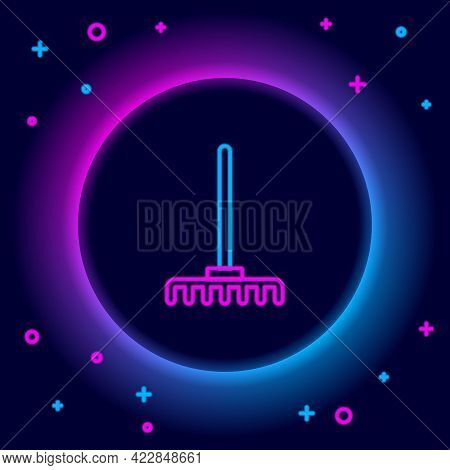 Glowing Neon Line Garden Rake Icon Isolated On Black Background. Tool For Horticulture, Agriculture,
