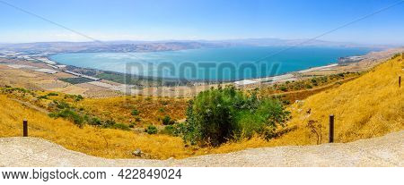 Panoramic View From The Golan Heights On The Sea Of Galilee. Northern Israel