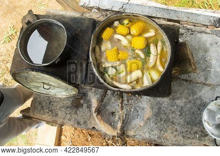 Sancocho Typical Colombian Dish On Wood Stove
