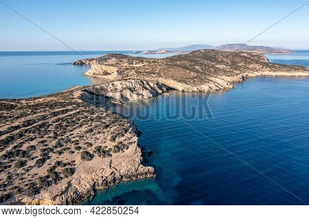 Greece, Kato Koufonisi Small Cyclades Island, Aerial Drone View