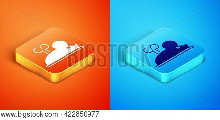 Isometric Clockwork Mouse Icon Isolated On Orange And Blue Background. Wind Up Mouse Toy. Vector
