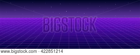 Retro Pink Purple Background Abstract Landscape 1980s Style Vector Illustration. Retro Background.