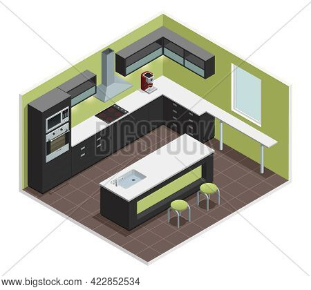Modern Kitchen Interior Isometric View With Counter Stove Range Cooker Oven  Shelves Refrigerator An