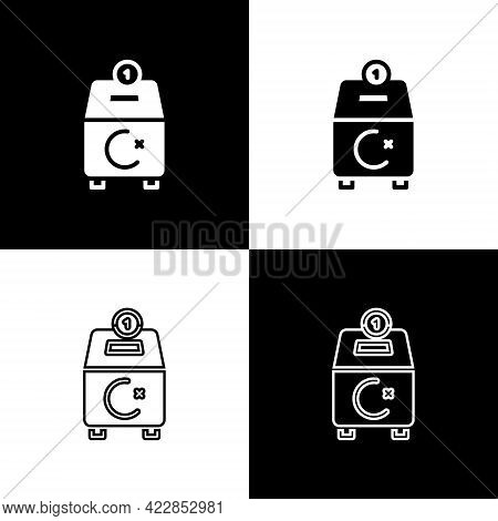 Set Donate Or Pay Your Zakat As Muslim Obligatory Icon Isolated On Black And White Background. Musli