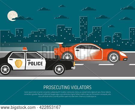 Street Racing In City Scene With Chasing Police Car Approaching Violator And Warning Text Abstract V