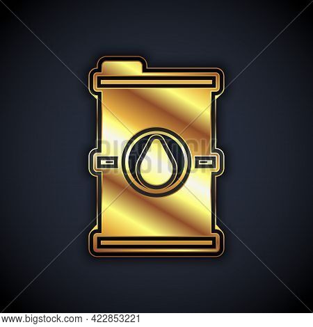 Gold Bio Fuel Barrel Icon Isolated On Black Background. Eco Bio And Canister. Green Environment And