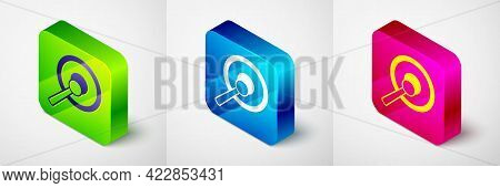 Isometric Gong Musical Percussion Instrument Circular Metal Disc And Hammer Icon Isolated On Grey Ba