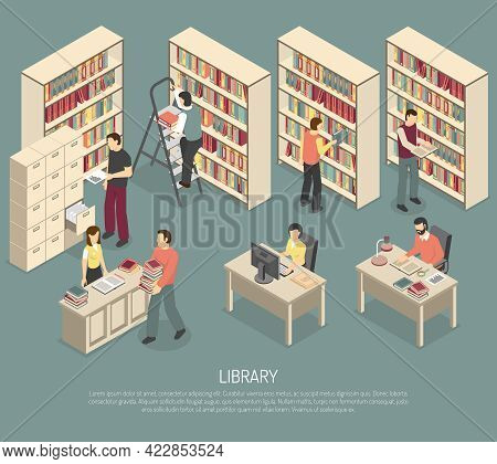 Scientific Library Published Materials Shelves With Ladder And Online Documents And Catalogs Access