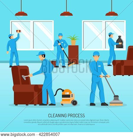 Industrial Cleaning And Maintain Company Service Team At Work In Warehouse Facility Flat Poster Abst