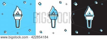 Set Torch Flame Icon Isolated On Blue And White, Black Background. Symbol Fire Hot, Flame Power, Fla