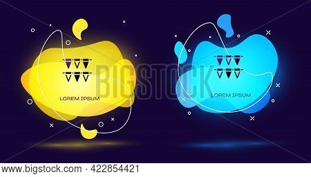 Black Carnival Garland With Flags Icon Isolated On Black Background. Party Pennants For Birthday Cel