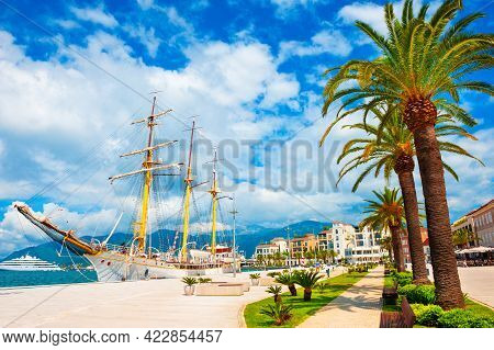 Beautiful Promenade With Palms In Sea Port Of Tivat, Montenegro. Kotor Bay, Adriatic Sea. Famous Tra