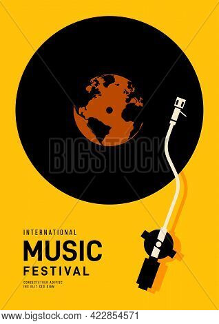 Music Festival Poster Design Template Background With World Map And Vinyl Record. Design Element Tem