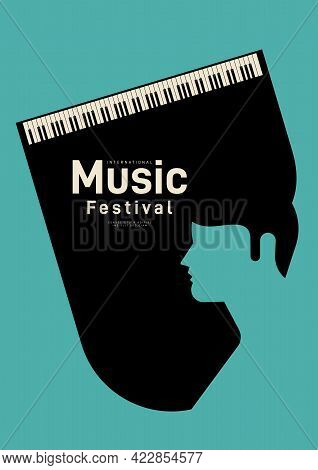 Music Poster Design Template Background Decorative With Piano. Design Element Template Can Be Used F