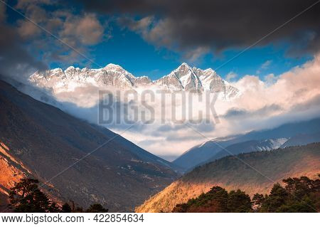 View Of Everest Peak And Lhotse Mount At Sunset From Tengboche Village, Nepal. Everest Base Camp Tre