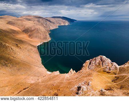 Beautiful Shore Of Baikal Lake With Mountains. Aerial Drone View. Baikal Lake, Siberia, Russia. Beau