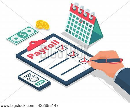 Payroll Concept. Salary Payment. Businessman Signs A Revenue Sharing Document. Landing Page, Templat