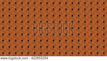 Retro Brown Crossed Wooden Plank Wall Texture Abstract Seamless Pattern Background Vector Illustrati