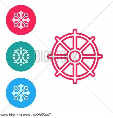 Red Line Dharma Wheel Icon Isolated On White Background. Buddhism Religion Sign. Dharmachakra Symbol
