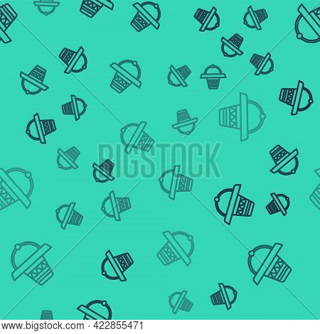 Black Line Traditional Mexican Sombrero Hat Icon Isolated Seamless Pattern On Green Background. Vect