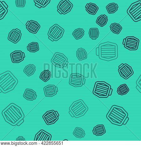Black Line Pet Carry Case Icon Isolated Seamless Pattern On Green Background. Carrier For Animals, D