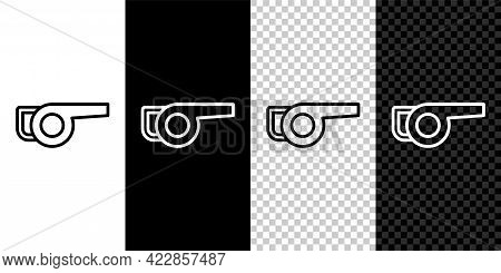 Set Line Leaf Garden Blower Icon Isolated On Black And White, Transparent Background. Vector